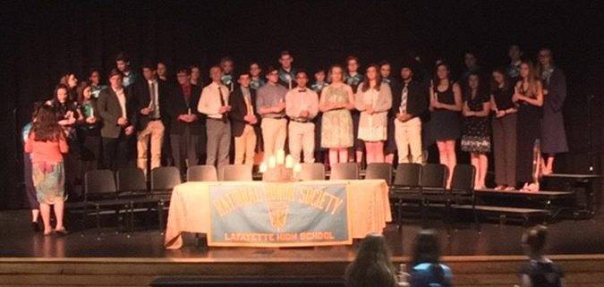 New members during their induction to the National Honor Society.