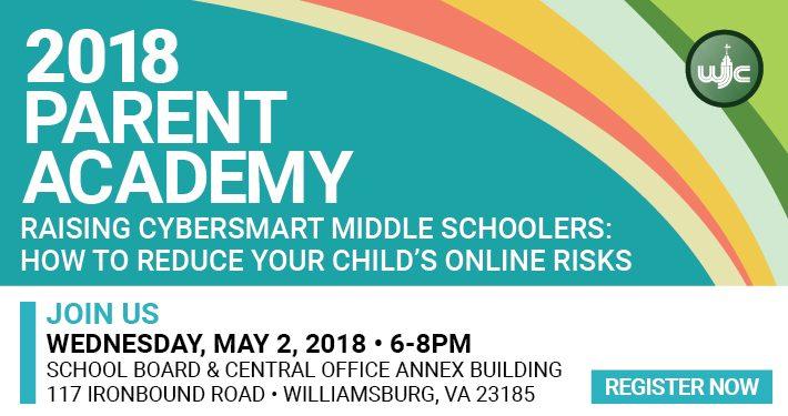 Raising Cybersmart Middleschoolers parent academy, May 2, 2018, 6-8 p.m., Central Office Annex building