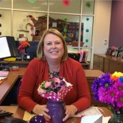 office secretary sitting at her desk