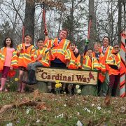 group of students for road cleanup