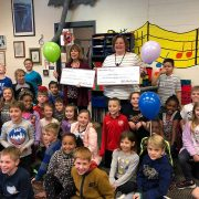 teachers with grant award and students