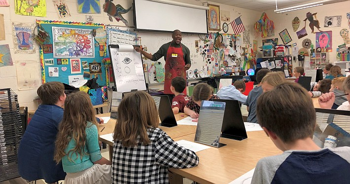 artist in a classroom
