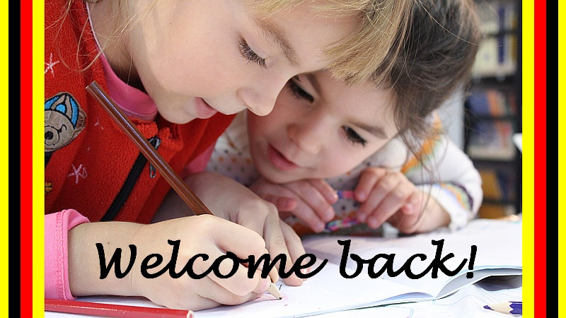 welcome back with photo of children