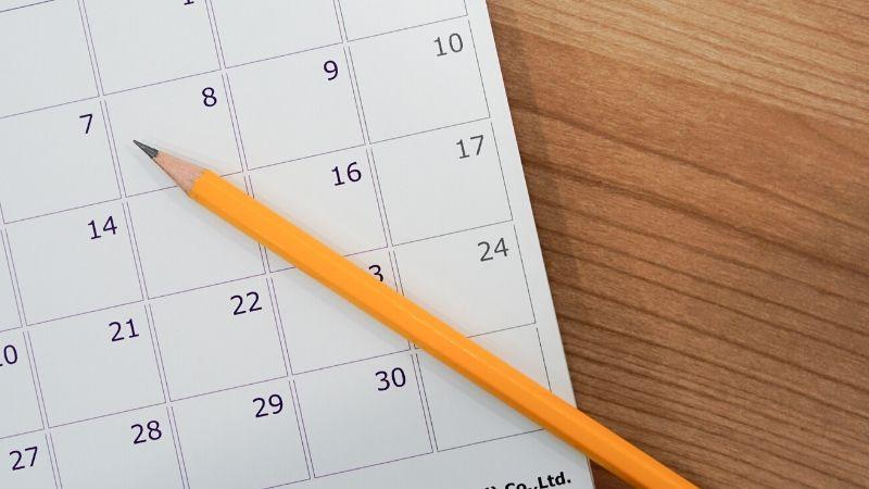 Calendar with a pencil