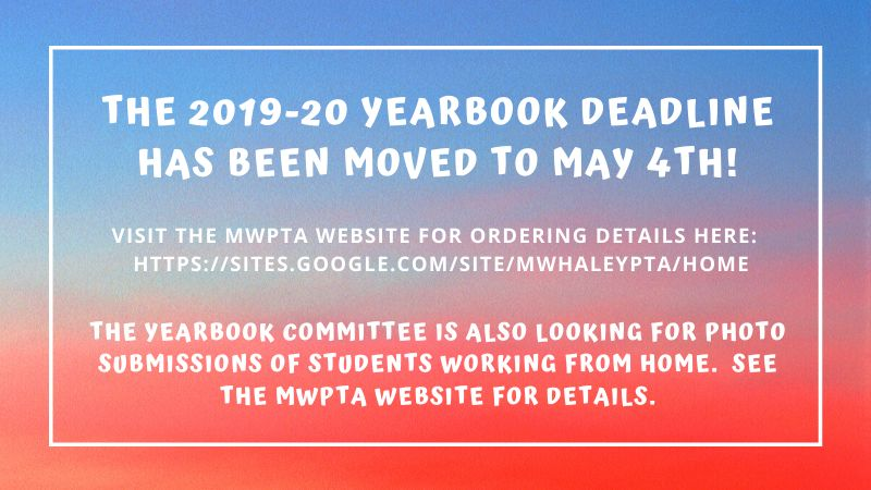 Yearbooks Can Be Ordered Until May 4th