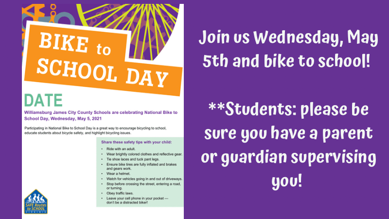 Bike to school Wednesday, May 5th