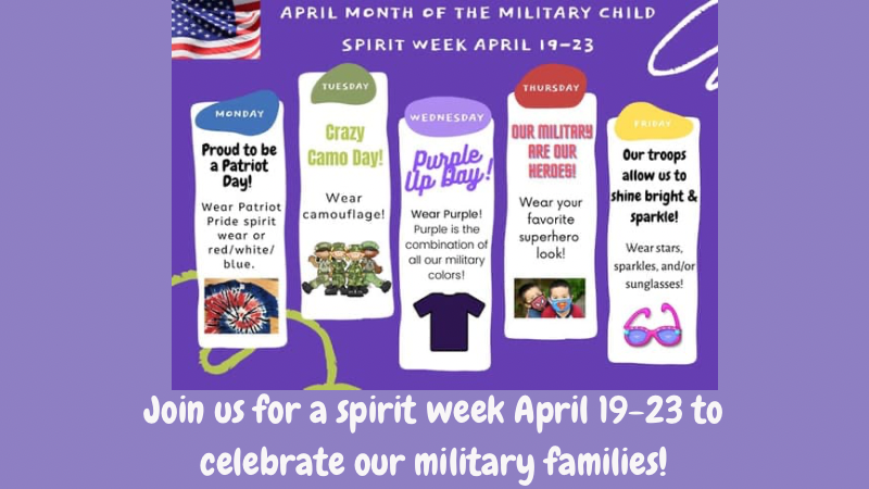 Celebrate military families with a spirit week April 19-23!
