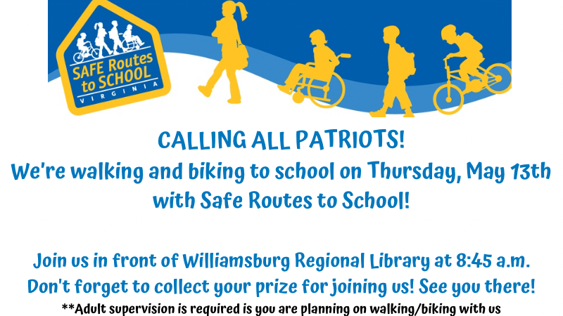 Walk/Bike to School With Us Thursday, May 13th!