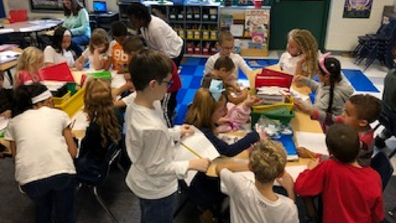 Fourth Grade and Kindergarten students working together.