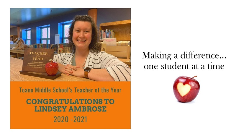 Lindsey Ambrose Teacher of the Year for Toano Middle School
