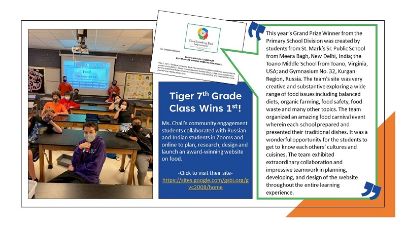 Award Winning Website 7th Grade