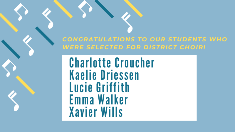 Graphic listing 5 students who made district choir
