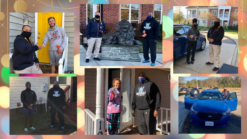 various pictures of Officer Nuey and Mr. Chamblee handing out treats to WHS students