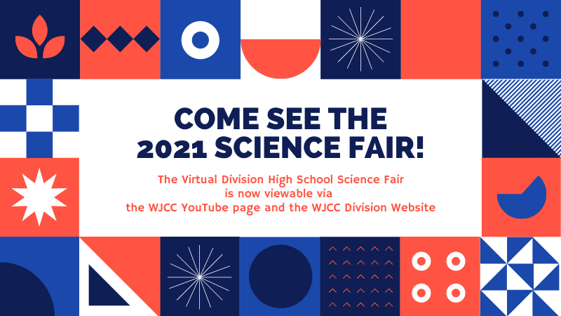 Graphic with info about the 2021 virtual science fair