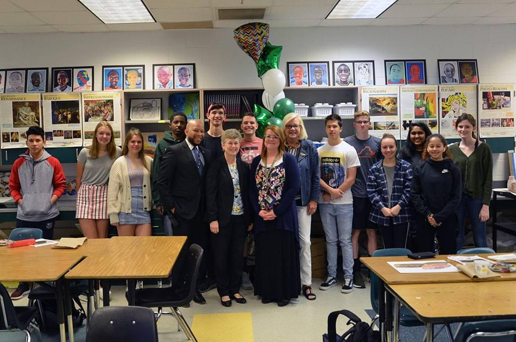 Melissa Furr, High School Teacher of the Year with students in classroom
