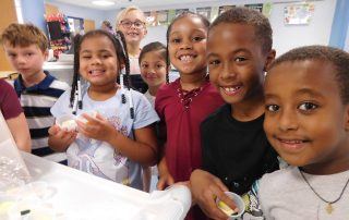 Group of students trying new vegetables on Farm to School Try Day