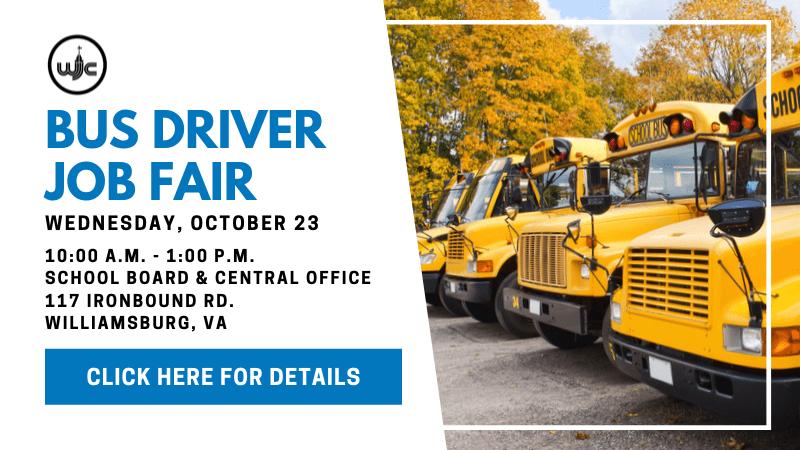 WJCC Bus Driver Job Fair, Wednesday, October 23