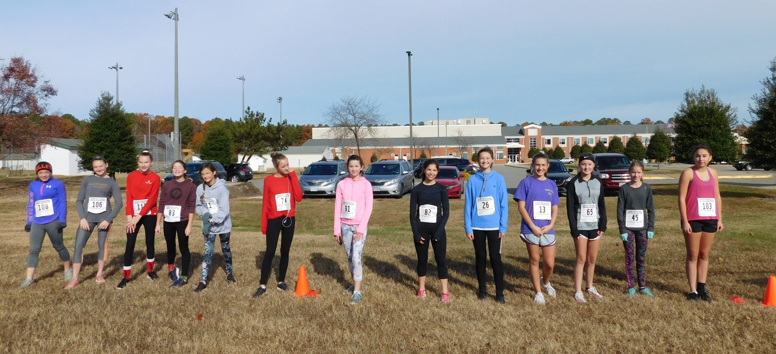 7th and 8th grade girls at the starting line of their 1.5 mile event