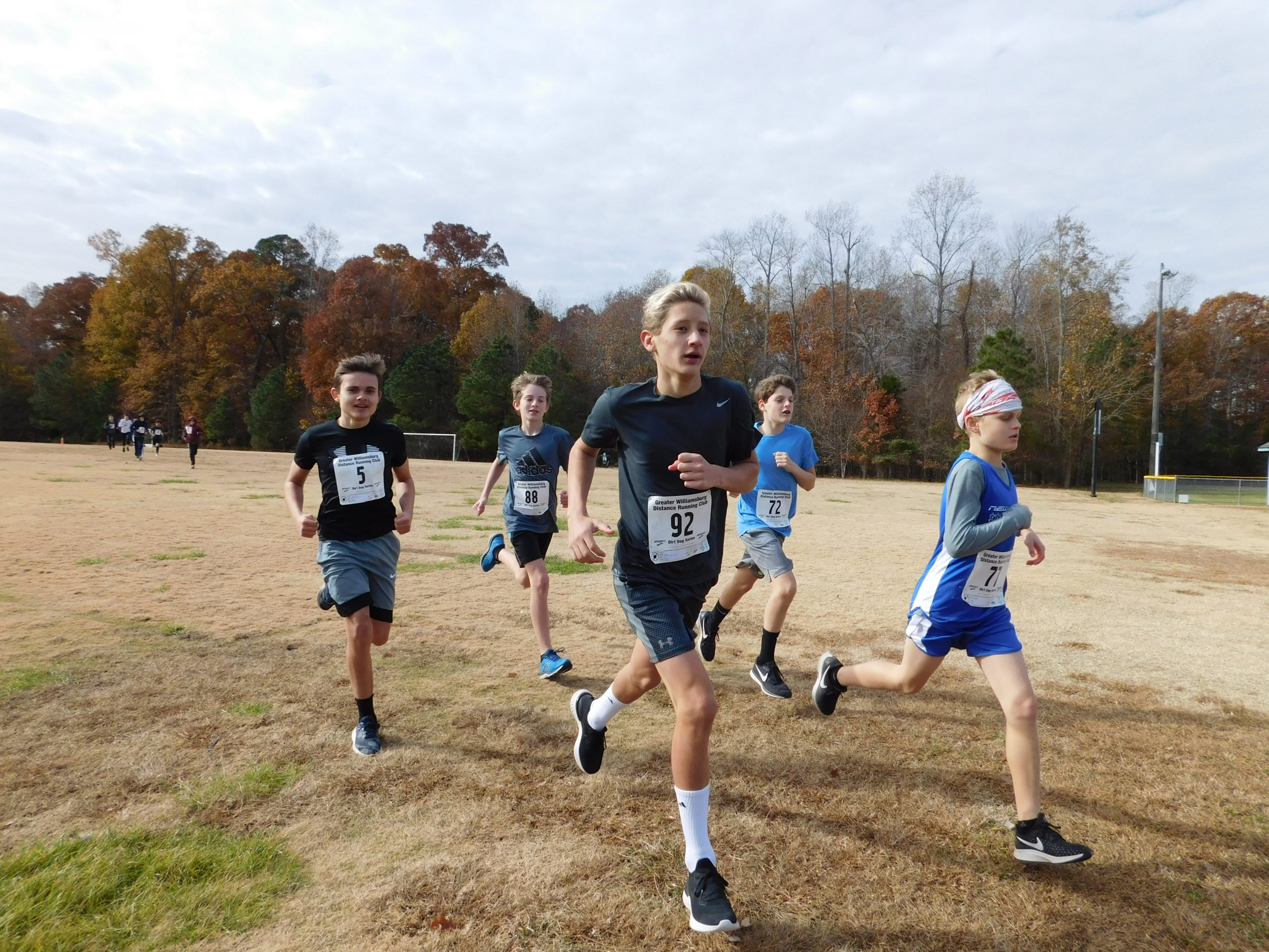 Boys running in a 1.5 Mile event