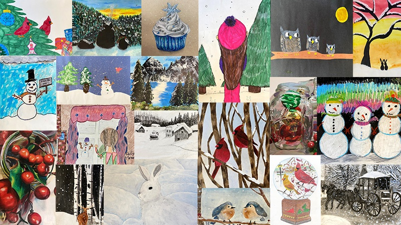 Collage of winter artwork from all grade levels