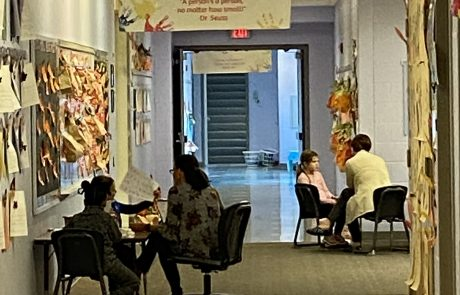 Reading, tutoring and enrichment learning takes place in hallways