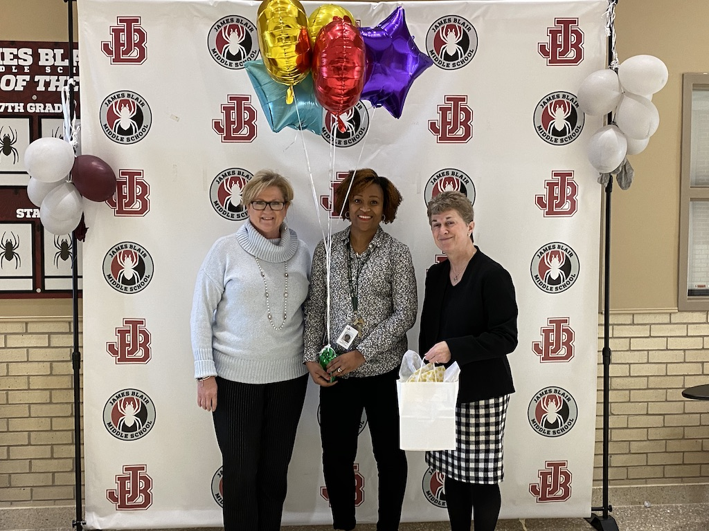 Assistant Superintendent, Cathy Worley, JBMS Principal, Crystal Haskins and Superintendent, Olwen Herron, Ed.D.