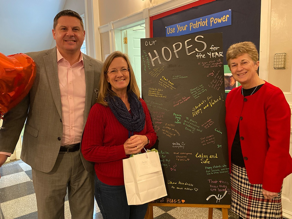 Assistant Superintendent, Sean Walker, MWES Principal, Robin Ford and Superintendent, Olwen Herron, Ed.D.