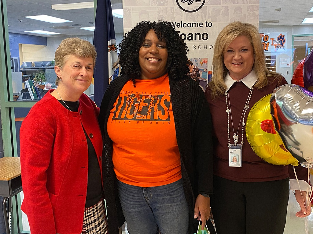 Assistant Superintendent, Cathy Worley, TMS Principal, Tracey Jones and Superintendent, Olwen Herron, Ed.D.