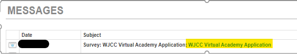 Screenshot of StudentVUE Messages